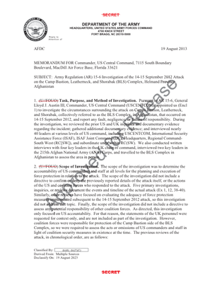 USCENTCOM Bastion Attack Investigation Redacted 15-6 Report